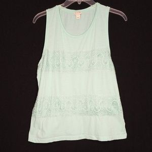 J Crew Med Teal Lacey Tank Top